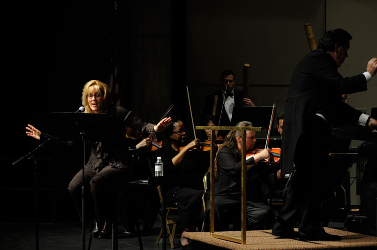 Karen Sharp, Hector Salazar and the orchestra