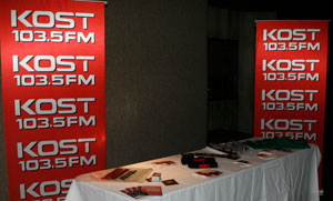 KOST 103.5 FM Table in the Lobby